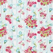 Floralish - Petunia Garden Treillage Light Blue Yardage