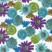 Makers Home - Multi Flower Turquoise Yardage