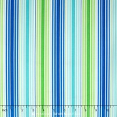 Rainy Day - It's Pouring Stripe Blue Green Yardage