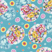 Night Music - Cloud Blossom Turquoise Yardage