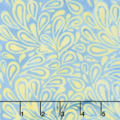 French Blue Batiks - Paisley Drops Buttercup Yardage