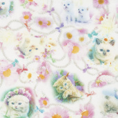Kitty Glitter - Cats Medley Pink Digitally Printed Yardage
