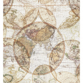 "Seven Seas - World Globes Multi Digitally Printed 108"" Wide Backing"