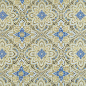 Blue Symphony - Medallion Black Royal Metallic Yardage