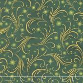 Winter's Grandeur 6 - Holiday Sparkles Evergreen Metallic Yardage