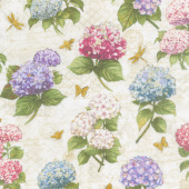 Hydrangea Dreams - Large Allover Ivory Yardage
