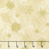 Holiday Flourish 11 - Holiday Marble Snowflakes Ivory Metallic Yardage