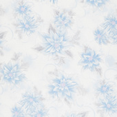 Holiday Flourish 12 - Peacock Poinsettia Blue Metallic Yardage