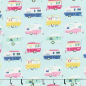 I'd Rather Be Glamping - Campers Light Mint Yardage