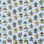 Sunshine Garden - Bird Houses Blue Yardage