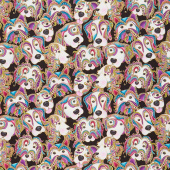 Dog On It - Lets Face It Black Multi Metallic Yardage