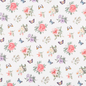 Botanica - Small Floral Toss White Multi Digitally Printed Yardage
