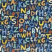 Baby Jungle - Alphabet Blue Yardage