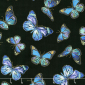 Enchanted - Butterflies Black Metallic Yardage