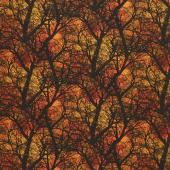 Wicked Hot - Dark Tree Branches Orange Yardage