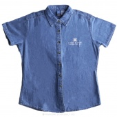 MSQC White Logo X-Large Women's Short Sleeve Denim Shirt - Faded Blue