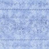 Roly-Poly Snowmen - Roly-Poly Stripe Blue Yardage