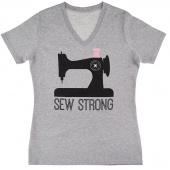 Missouri Star Sew Strong V-Neck Grey T-Shirt - Small