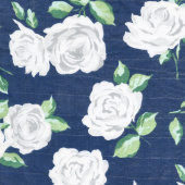 Embrace - Double Gauze Rose Garden Cobalt Yardage