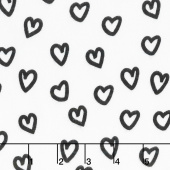 Penned Pals Flannel - Shadow Colorstory Hearts Black Yardage