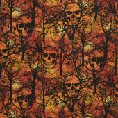 Wicked Hot - Skull Spiderwebs Orange Yardage