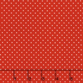 Swiss Dot - White Swiss Dot on Red Yardage
