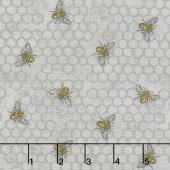 Bee Joyful - Busy Bee Dove Grey Yardage