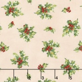 Angel Song - Tossed Holly Cream Yardage