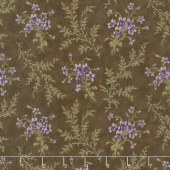 Sweet Violet - Violets & Ferns Earth Yardage