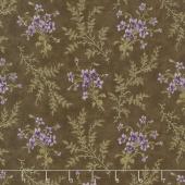 Sweet Violet - Violets & Ferns Earth Yardage