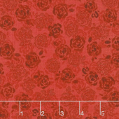 Sugar Berry - Playful Posies Radiant Ruby with Red Glitter Yardage