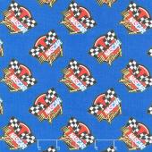 Nascar - Retro Racing Blue Yardage