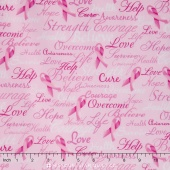 Pink Ribbon - Breast Cancer Words Pink Ribbon Pink Yardage