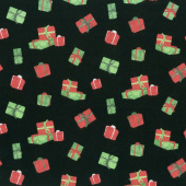 Gnome for Christmas - Presents Black Flannel Yardage