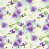 Hoppy Easter - Pansies White Yardage