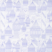 Once Upon a Time - Castle on the Hill White Periwinkle Yardage