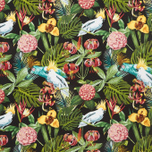 Paradise - Birds in Paradise Black Yardage