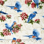 Bluebird Gathering - Allover Bluebirds Cream Yardage