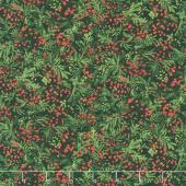 Santa's Helpers - Evergreen Berries Black Digitally Printed Yardage