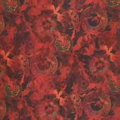 Dragons - Flying Dragons Red Digitally Printed Yardage