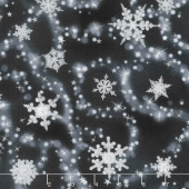 Winter's Grandeur 6 - Winter Scattered Snowflakes Ebony Metallic Yardage