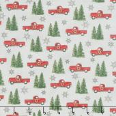 Homegrown Holidays - Trucks and Trees Silo Grey Yardage