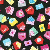 Big Love - Love Letters Black/Pink Yardage
