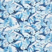 Aquarium - Swimming Sharks Blue Yardage