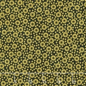 Imperial Collection 13 - Black Floral Dots Black Metallic Yardage