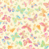 Watercolor Wishes - Butterfly Wishes Yellow Metallic Yardage