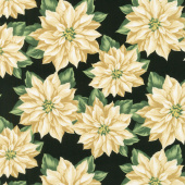 Holiday Lane - Poinsettia Black Yardage