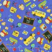 School Rules - School Motifs Blue Yardage