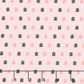 Meow and Forever - Paw Prints Pink Yardage