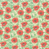 Harlequin Poppies - Poppies and Leaves Cream Yardage